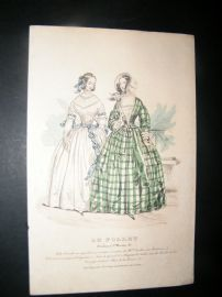 Le Follet C1840's Hand Coloured Fashion Print 857